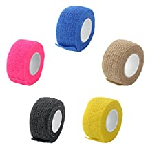 MagiDeal 5 Pieces 2.5cm First Aid Finger Ankle Self-Adhesive Bandage Gauze Tape 4.5m
