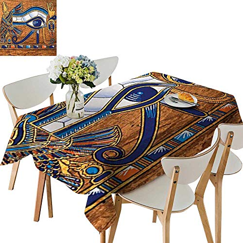 (UHOO2018 Square/Rectangle Indoor and Outdoor Tablecloth Egyptian Ancient Art Papyrus Depicting The Horus Eye Design Print Gainsboro Per Restaurant Party,52 x 70inch)