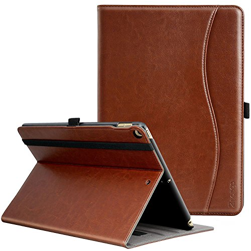 Ztotop New IPad 9.7 Inch 2018/2017 Case,Premium PU Leather Business Slim Folding Stand Folio Cover with Auto Wake/Sleep,Pencil Holder and Multiple Viewing Angles,Brown (Pu Design Leather Slim)