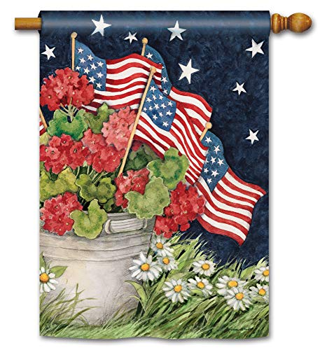 BreezeArt Studio M Geraniums with Flags Decorative Summer Patriotic Floral Standard House Flag Banner - Premium Quality, 28 x 40 Inches ()
