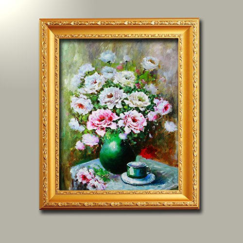 Rose Oil Painting (JuYi Art Large Vase Pink Roses Famous Oil Paintings Artwork Modern Stretched and Framed Canvas Prints Floral Pictures on Canvas Wall Art for Living Room Bedroom Home 15x19inch DIY Framed Ready to Hang)