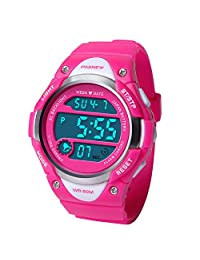 HIwatch Kids Sport Watch Water-Resistant Swimming LED Digital Watch with Alarm Back Light Stopwatch for Boys Girls 5+ Years Old Pink, Red
