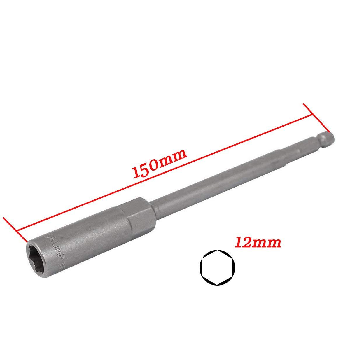 XMHF Gray Metal Screwdriver Drill 150mm/×8mm Hex Socket Nut Driver Set Hexagonal Deep Socket Nut Driver 3Pcs