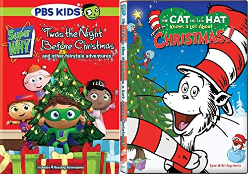 Reading Holiday Adventures PBS Super Why 'Twas the Night Before Christmas + Dr. Seuss The Cat in the Hat Knows a Lot About Christmas! Cartoon DVD 2 Pack]()