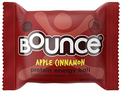 Bounce Apple Cinnamon Protein Energy Ball - Whey Protein, Gluten Free, Non-GMO, Vegetarian, On The Go  Snack - 1.48 Ounce, 12 count