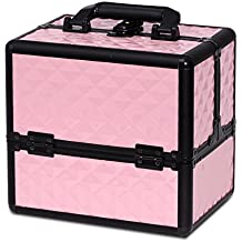Makeup Organizer Case Travel Cosmetic - Aluminum Storage Box Lockable with Compartments