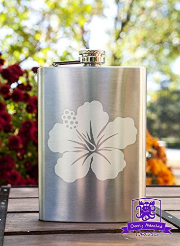 Hawaiian Flower 8 Ounce Stainless Steel Flask