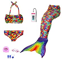 AUIE SAOSA Girl mermaid tail for swimming swimwear cover up sets+girls Goggles 7pcs