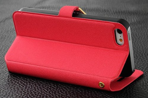 iPhone 5S Case - Premium Wallet Leather Case for iPhone 5S / 5 (Red, Built-in Credit Card/ID Card Slot)