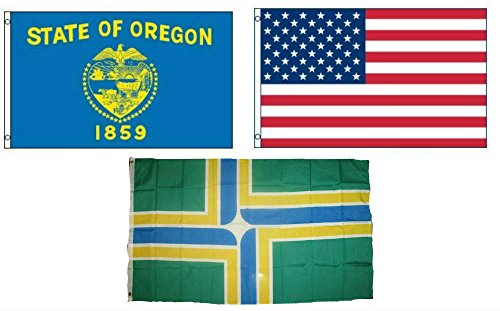 (ALBATROS 3 ft x 5 ft American with City of Portland with State of Oregon Set Flag for Home and Parades, Official Party, All Weather Indoors)