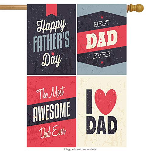 (Wamika Happy Father's Day Vintage Super Dad Double Sided House Flag Garden Banner 28