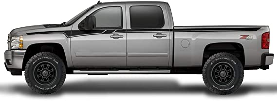 Matte Black Factory Crafts Nightmare Side Graphics Kit 3M Vinyl Decal Wrap Compatible with Chevrolet Silverado Crew Cab 2008-2013