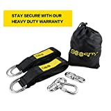 Tree Swing Handing Kit –SOOSPY Two 10 Foot Extra Long Straps with 2 Bonus Safe Carabiners,Holds 2000 lbs,FREE Stainless Steel Rotating Loop Hook for Tire Swing –Easy to Use for Hammocks and Swing Sets