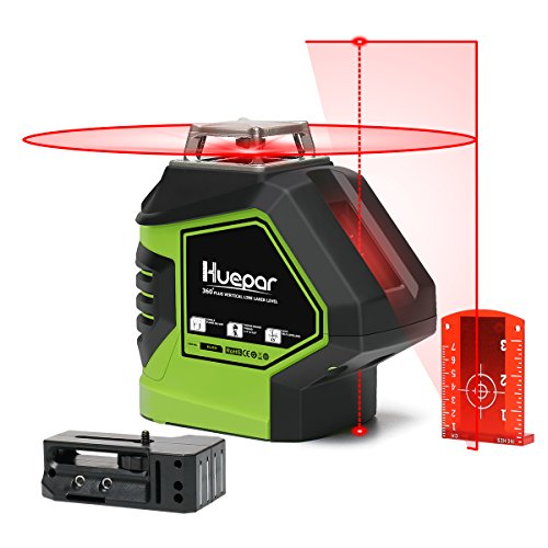 Huepar Self-Leveling Laser Level 360 Red Cross Line with 2 Plumb Dots Laser Tool -360-Degree Horizontal Line Plus Large Fan Angle of Vertical Beam with Up & Down Points -Magnetic Pivoting Base 621CR