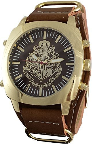 Harry Potter Hogwarts Leather Watch with Gold Stainless Steel Face - Band Potter Harry Watch