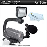 Deluxe LED Video Light + Mini Zoom Shotgun Microphone w/Mount + Video Stabilizer Kit For Sony HDR-CX160,HDR-CX560V,HDR-CX700V,HDR-HC9,HDR-PJ10,HDR-PJ30V,HDR-PJ50V,HDR-TD10,HDR-XR160,HDR-XR550V, NEX-VG10, NEX-VG20 Includes Handle + Microphone + LED Light