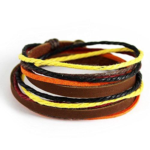 [November's Chopin (TM) Unique Charm Colorful Multistrand Leather Adjustable Wrap Bracelet (Orange)] (Punk Costume Nz)