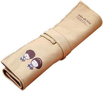 Bolsa de lápiz de lona color beige Estuche para niñas Roll Up Lápices de dibujo Lápices de colorear Organizador de rollos para estudiantes de artistas por TheBigThumb: Amazon.es: Bricolaje y herramientas