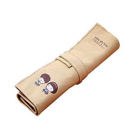 Bolsa de lápiz de lona color beige Estuche para niñas Roll Up Lápices de dibujo Lápices de colorear Organizador de rollos para estudiantes de artistas ...