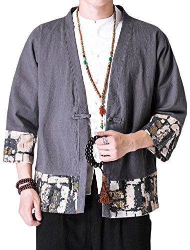 ALPPV 맨즈 가디건 코트 맨즈 일본식 파커 멋쟁이 코트 하무지 일본풍 심플 넉넉하게 캐주얼 톱스