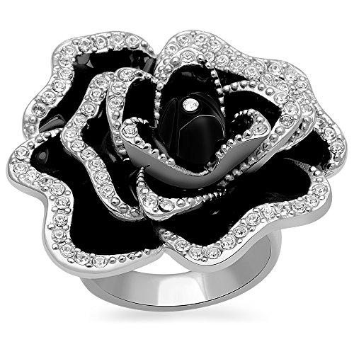 Jewelili Sterling Silver Black Enamel Clear Crystal Flower Ring, Size 7