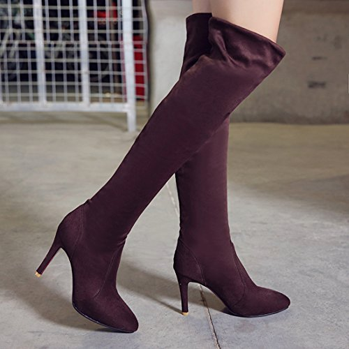 Agodor Nubuck Knee Boots Over High The Women's Heels Stiletto 68T6rg