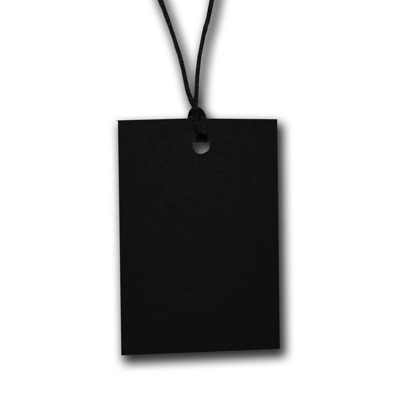 500 x Black Stringed Card Clothing Tags 60mm x 40mm
