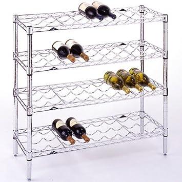InterMETRO 36 Bottle Wine Rack, Chrome