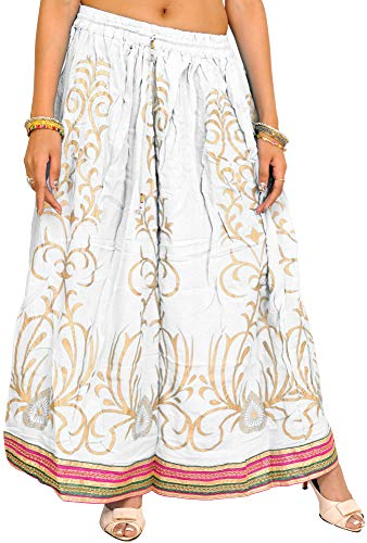Exotic India Printed Long Skirt with Embellished Patch Border - Color Lily White