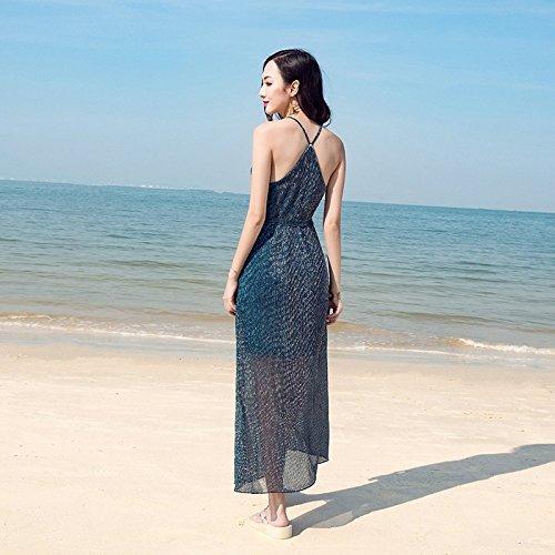 Verano Sin Navy La De Beach En Falda RONG XIU Falda Playa Vestido Respaldo q07t76