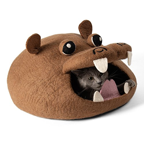 Hippos Love (Twin Critters Handcrafted Cat Cave Bed (Large) I Ecofriendly Cat Cave I Felted from 100% Natural Merino Wool I Handmade Pod for Cats and Kittens I Warm and cozy cat bed (Hippo))