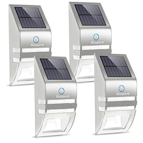 Roopure 4 Pack Stainless Steel Solar Motion Sensor Lights Outdoor Decorative Solar Powered LED Accent Lights Solar Powered Security Lights Waterproof for Front Door Patio Deck Yard Garden Fence Porch