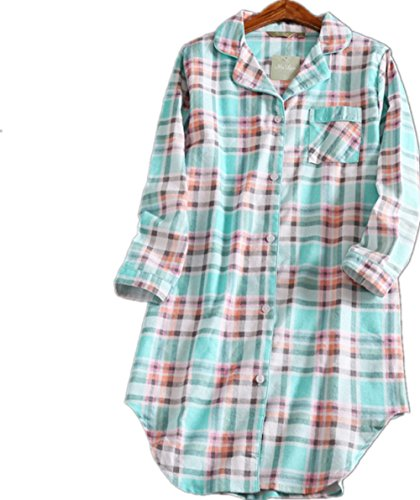 Amoy-Baby Women's Button Down Cotton Nightgown