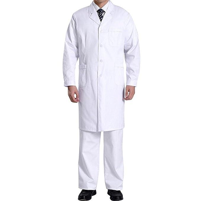 Hombres Bata Médico Manga Larga Bata de Laboratorio Enfermera Sanitaria de Trabajo para Médicos Científico (