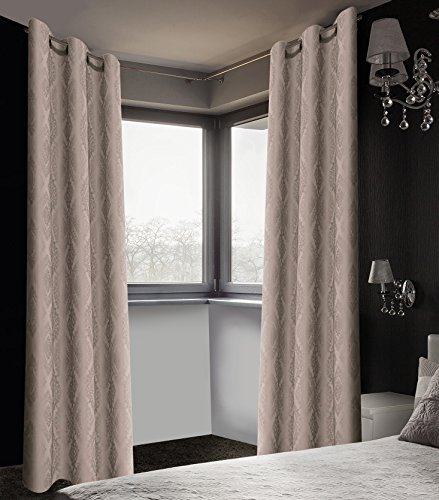 Safdie & Co. Curtain Panel Brocade Blackout 84L Taupe 2 Pcs Set, 2 Piece (Brocade Taupe)