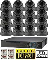 USG 1080p HD-SDI 16 Channel Kit: 1x 16 Ch DVR + 16x 2.8-12mm Dome Cameras + 2x 2TB HDD *** High Definition CCTV Video Surveillance