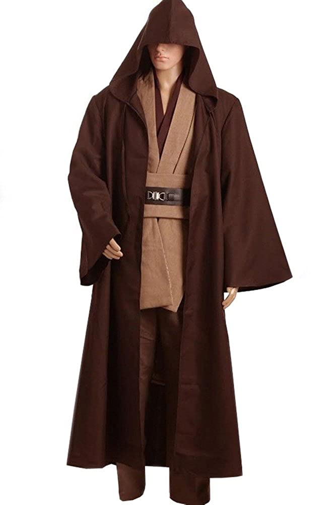 Cosplaysky Men Halloween Costume Tunic Hooded Robe Outfit Brown Version