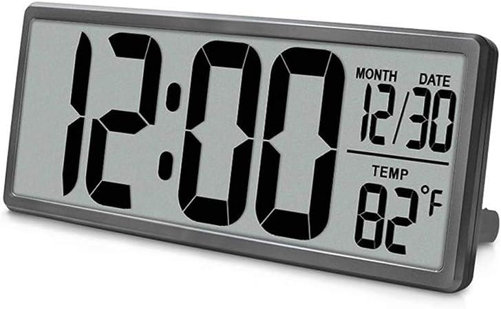 Extra Grande Visión Reloj De Pared Digital, Jumbo Despertador, Pantalla LCD Alarma Snooze Calendario Interior Temperatura Oficina Decoración,Gray: Amazon.es: Hogar
