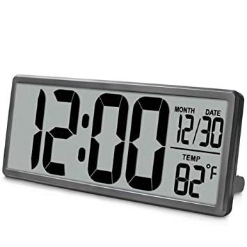 ... Visión Reloj De Pared Digital, Jumbo Despertador, Pantalla LCD Alarma Snooze Calendario Interior Temperatura Oficina Decoración,Gray: Amazon.es: Hogar