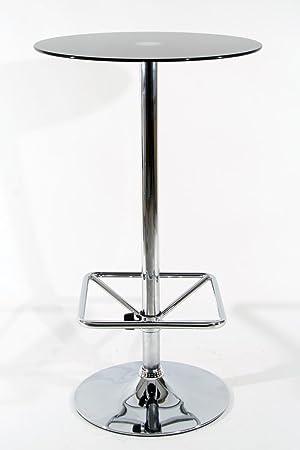 Stehtisch Rund Glas.Amazon De Stehtisch Schwarz Rund Glas 104 Cm Fußstütze