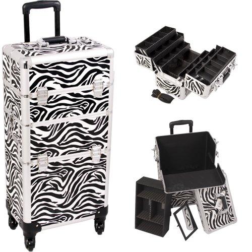 33.5 Inch Zebra Print Pattern Interchangable Series Cosmetic Train Case Beauty Supply Holder with 4-360 Degree Rotating Wheels Make Up Travel Organizer