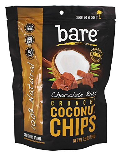 Kinder Chocolate Chips - Bare Fruit - 100% Natural Crunchy Coconut Chips Chocolate Bliss - 2.8 oz.(pack of 2)