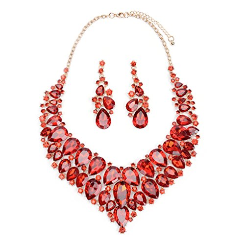 omylady Bridal Costume Jewelry Sets Crystal Choker Necklace Dangle Earrings Set for Wedding Party Dress (Red) (Jewelry Costume Necklace Choker)