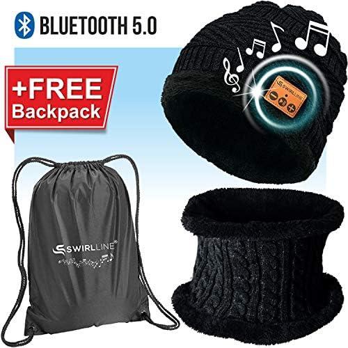 Wireless Beanie – Wireless Headphones Hat and Scarf Set for Winter Outdoor Men Women Warm Knitted Music Hat Black MZ026