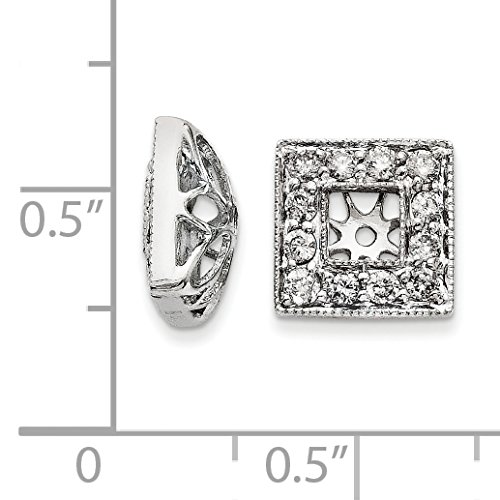 14K White Gold 0.51ct Diamond Earring Jackets 3.50mm Opening for 0.30ct Stone
