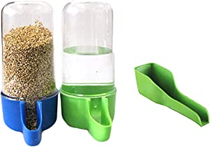 Yu-Xiang 3 Pack Bird Water Dispenser with Spoon Small Animal Foods Bowl Mynah Bottle Parrot Drinking Fountain 50ML/200ML Automatic Feeder Random Color
