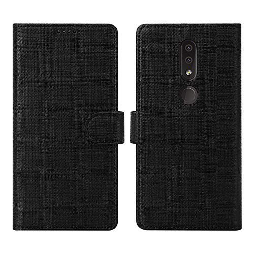 DDJ Nokia 4.2 Case Cover, Soft TPU&PU Leather Flip Case with Kickstand,Multi-Function Wallet Slot Shockproof Protective Phone Case for Nokia 4.2 (Black)