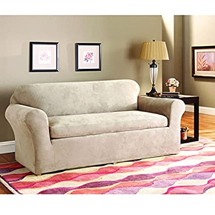 Sure Fit Stretch Suede   Sofa Slipcover   Taupe (SF37531)