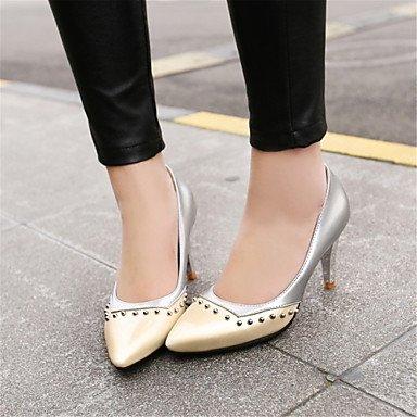 de las mujeres sandalias Primavera Verano Otoño los zapatos del club del brillo personalizada Materiales oficina y carrera boda de tacón de aguja casual Plata Oro White