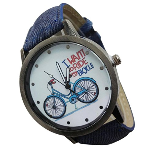 (Caopixx Watches for Men, Retro Vintage Watch Denim Bicycles Male and Female Students Couple Table Lovers' Watches (Blue))